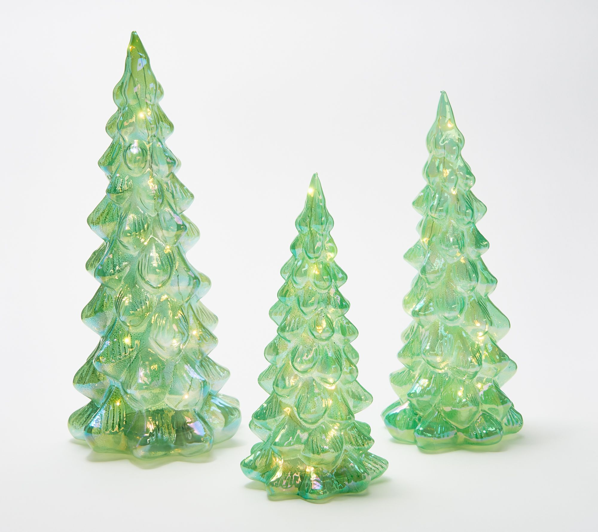 Set Of 3 Illuminated Iridescent Glass Trees By Valerie Qvc Com Valerie Parr Hill Iridescent Glass Valerie Parr Hill Christmas