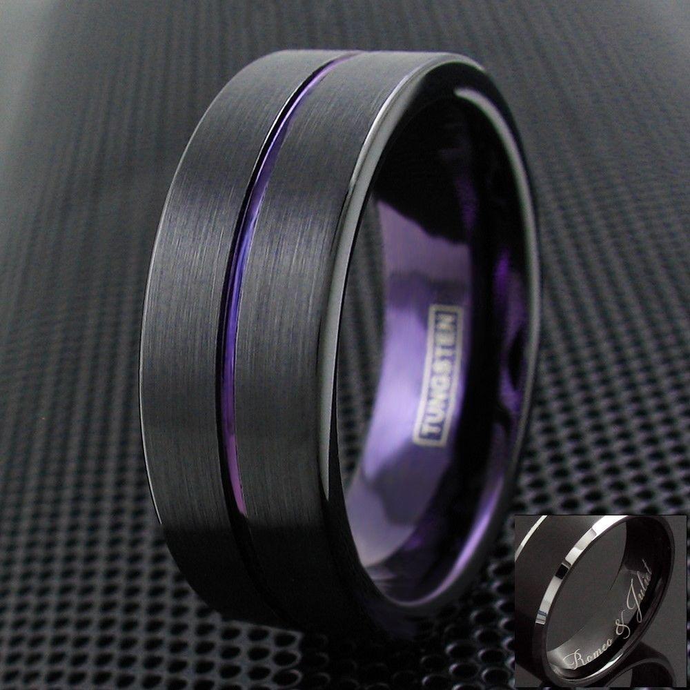 Details About 8mm Black Brushed Tungsten Men S Royal Purple
