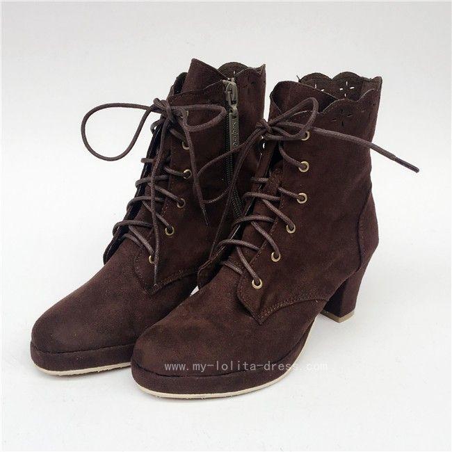 331e52462a71 Coffee Velvet Lolita Boots for Woman Lolita Shoes