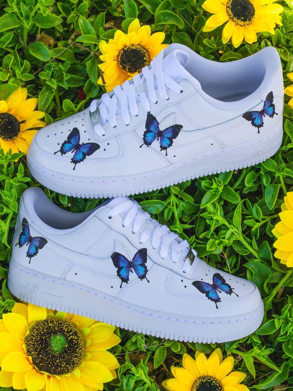 Blue Drip Butterfly AF1 in 2020 Nike air shoes, White