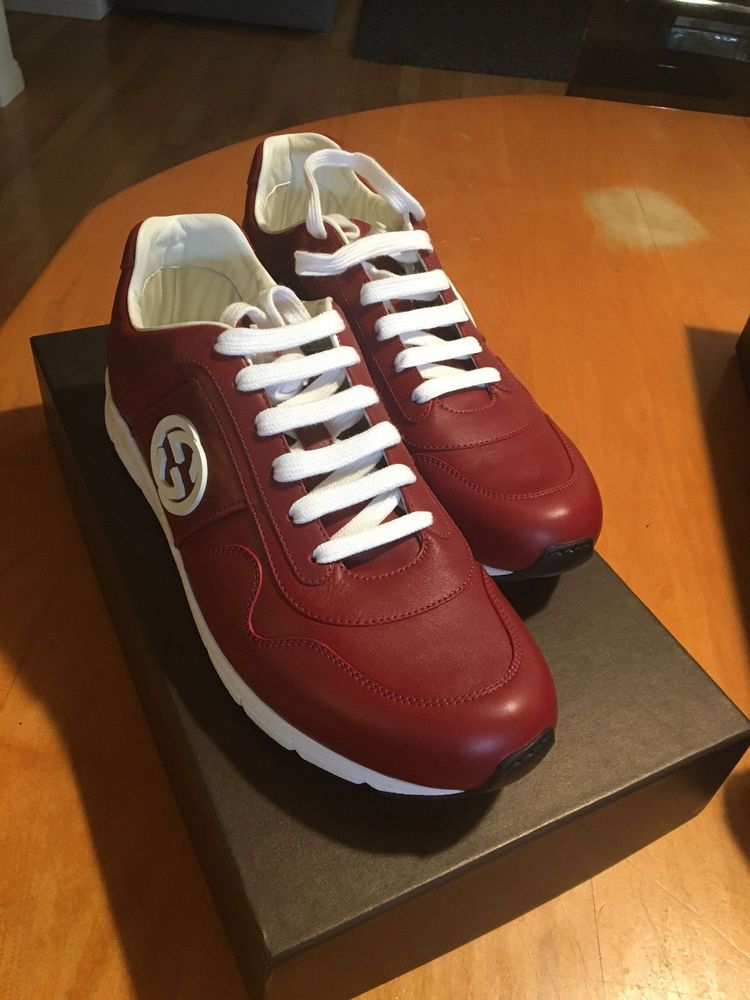 c2f842ff5de666 eBay  Sponsored GUCCI MEN S SHOES RED  NEW  LEATHER TRAINERS SNEAKERS  MIRO  SOFT  G8-US9  EU 42