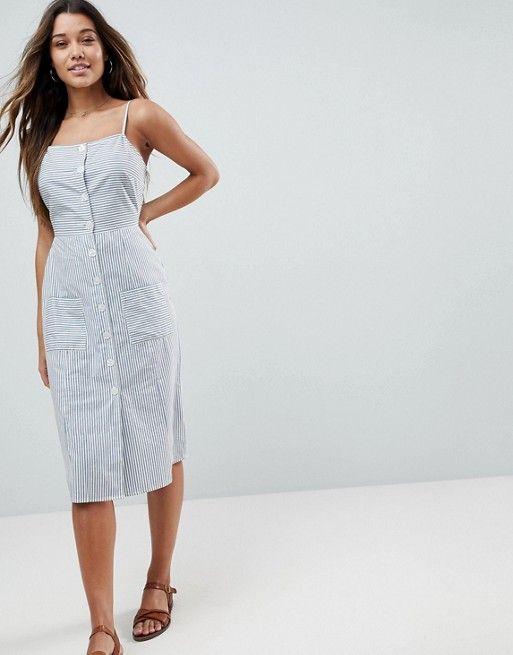2006ab271 Vestido de verano midi de lino a rayas con botones de en 2019 ...