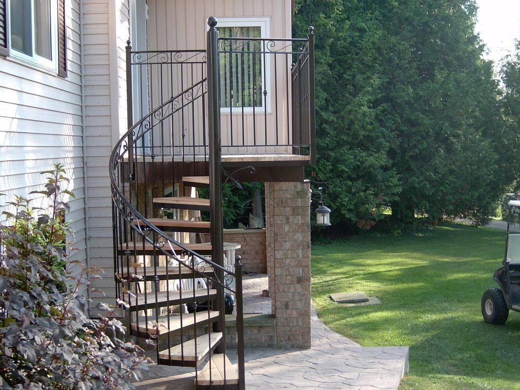 Outdoor Staircase With Metal Handrails Metal handrails Staircases