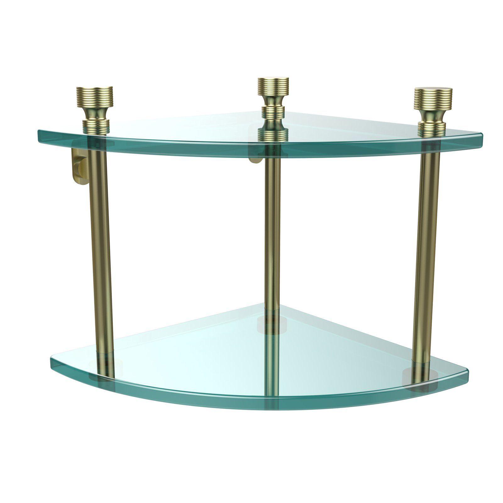 Allied Brass Foxtrot 2 Tier Corner Glass Shelf Glass Shelves Glass Bathroom Shelves Corner Wall Shelves