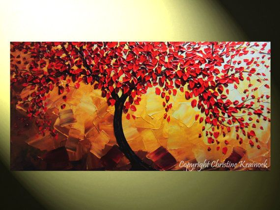 Original Art Abstract Painting Red Tree Of By Christinekrainock 335 00 Peintures Art Abstrait Les Arts Peinture Abstraite