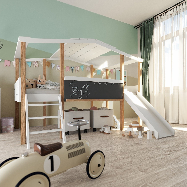 Hausbett Cory weiß/ Kiefer (90 x 200cm) Kinderhochbett