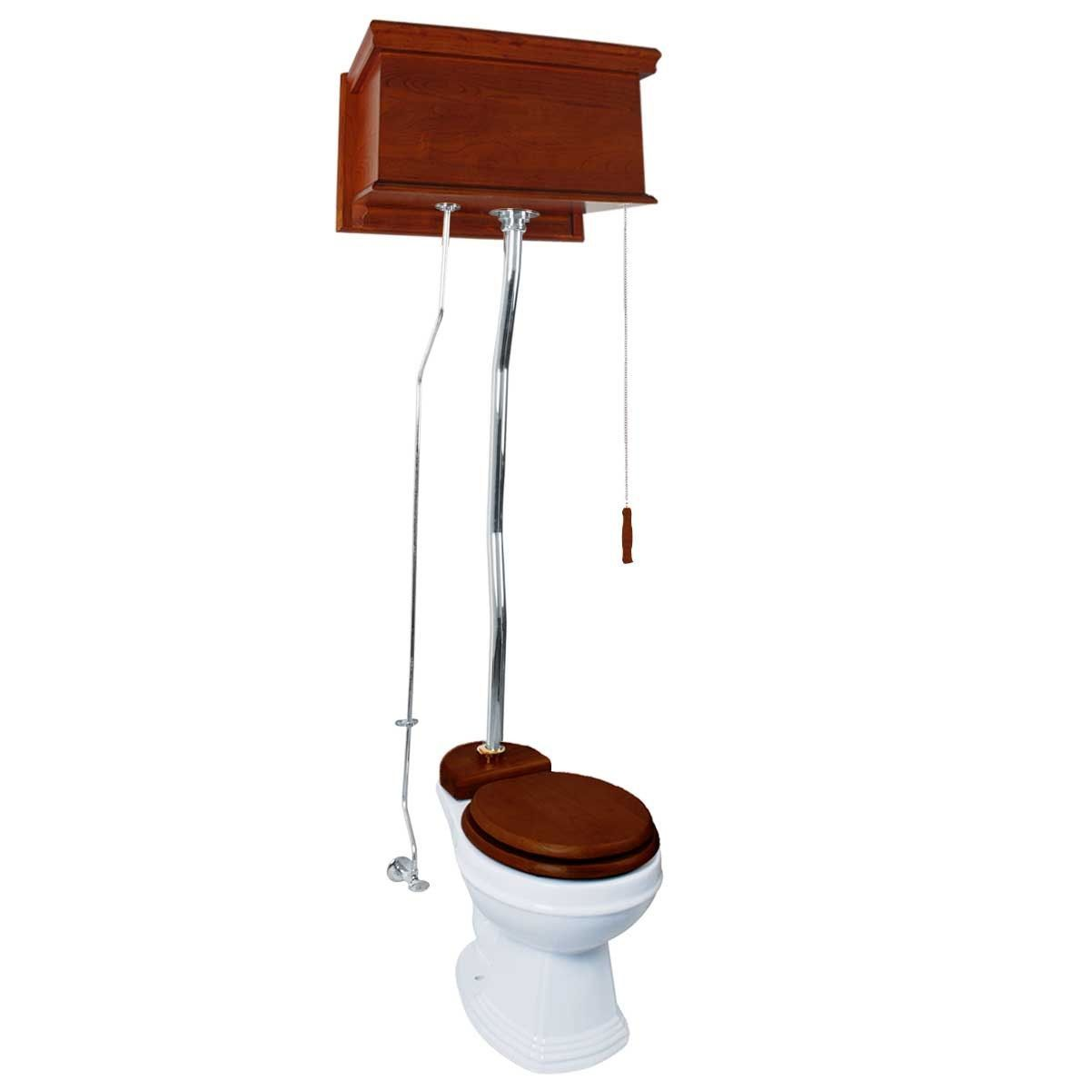 Mahogany Flat High Tank Pull Chain Water Closet With White Toilet