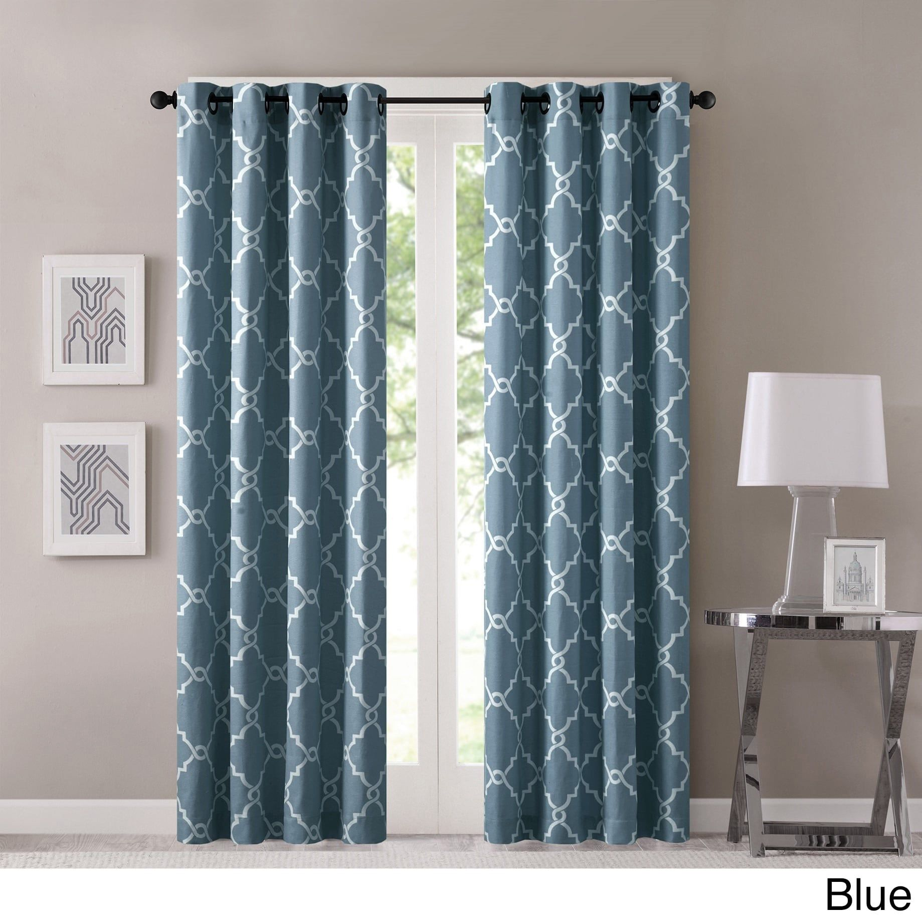 Madison Park Westmont Fretwork Print Pattern Single Curtain Panel