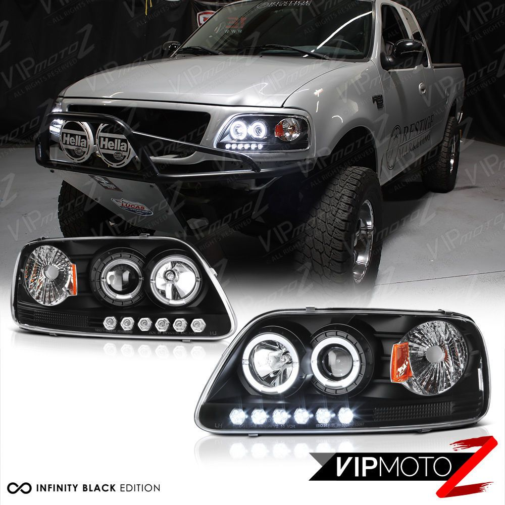 Black Dual Led Halo Ring Projector Lamp Headlight For 97 03 Ford F150 Expedition Ebay Ford F150 F150 Ford F150 Accessories