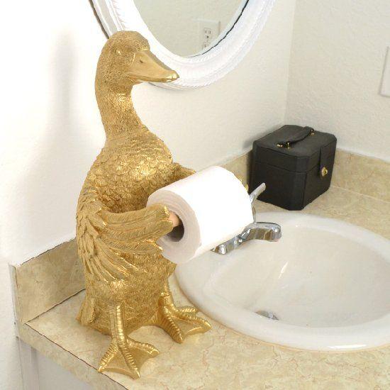 Kitschy Golden Goose Tp Holder Funny Toilet Paper Holder Funky Bathroom Toilet Paper Holder