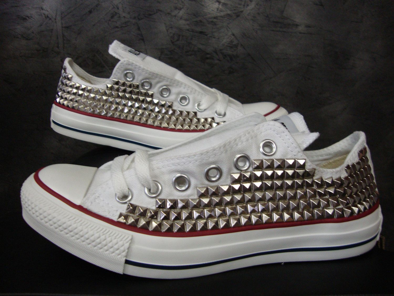 f9755cc407d0 Custom Studded Pyramid Converse Shoes (ONE SIDED SHOES).  150.00 ...
