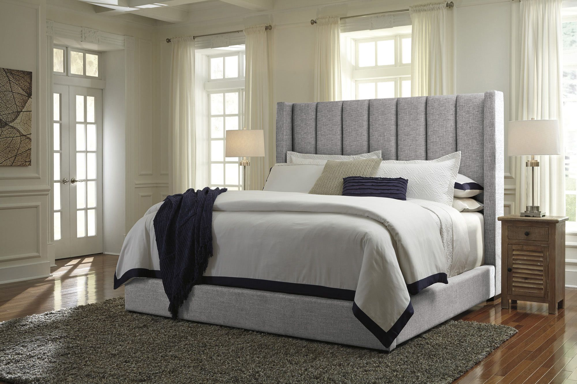 Best Kasidon Queen Upholstered Bed In Gray Ashley Home 400 x 300