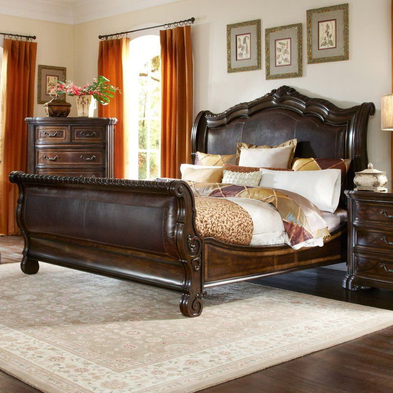 A R T Furniture Valencia Leather Upholstered Sleigh Bed Size California King 209147 2304 Furniture Bed Furniture Sleigh Bedroom Set