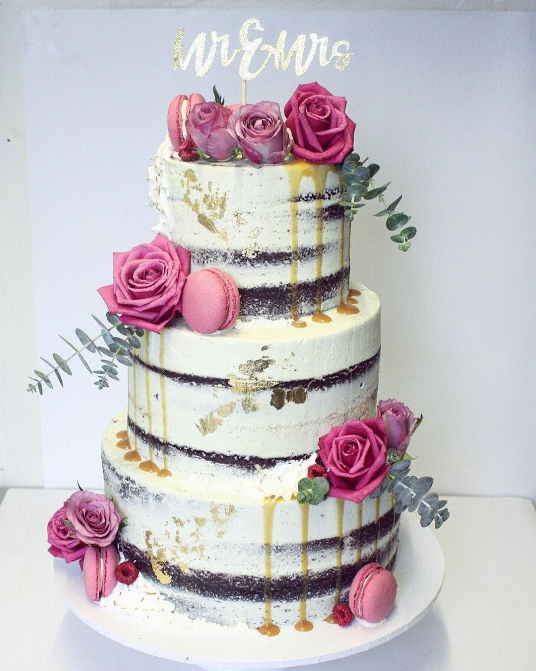 Sexy Gorgeous Naked Wedding Cake With Magenta Pink Flowers By