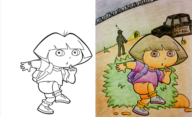 Diply Dora Funny Coloring Books Corrupt Coloring Book