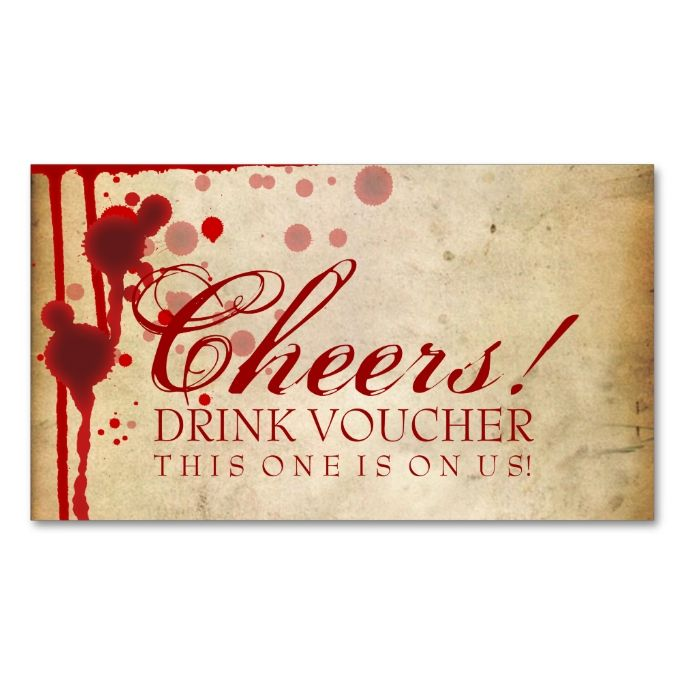 vampire halloween drink voucher fake blood red business card - Great Halloween Drinks