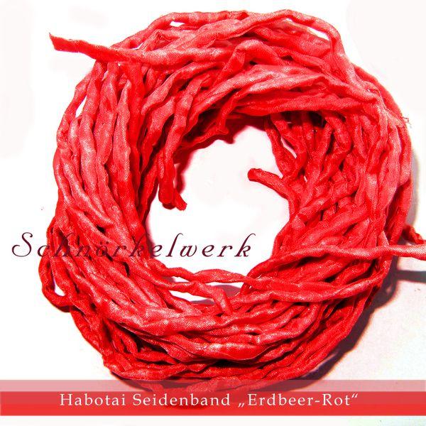 Habotai Seidenband Seidenschnur Schmuckband Erdbeer-Rot    Die Farben werden von mir selber gemischt.  Das Habotai Seidenband ist 100 cm - 3 mm.  ...