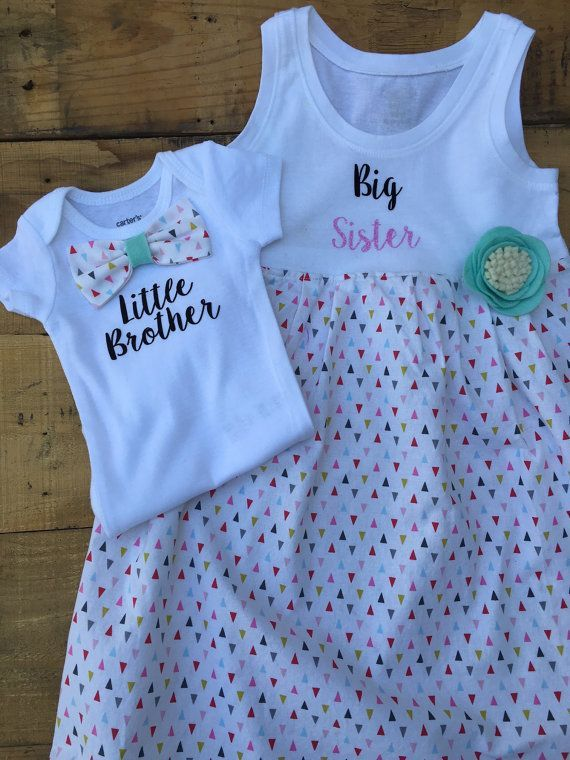 Matching big sister little brother set big sister announcementcoming home outfitbaby boy