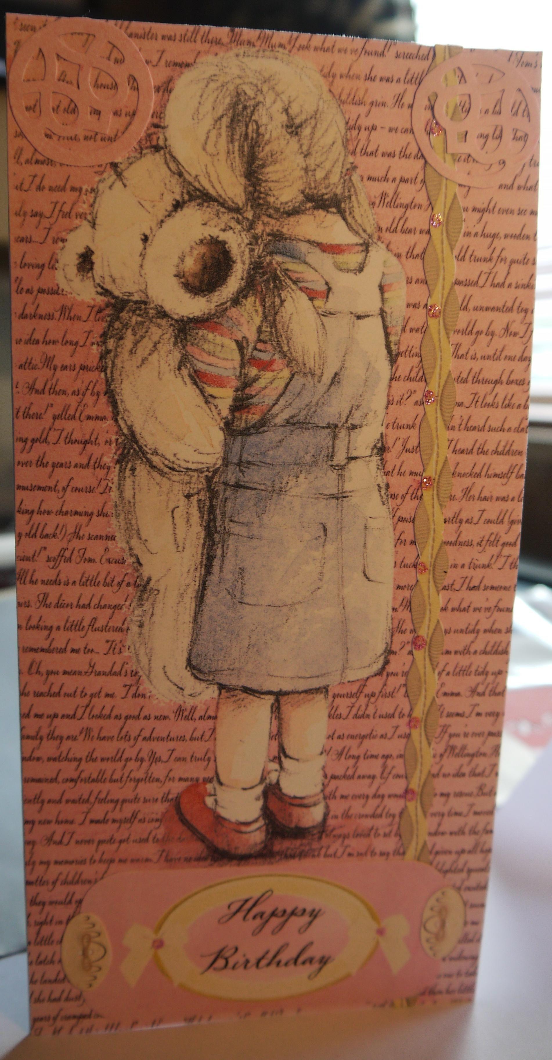 Girly pink wellington birthday card