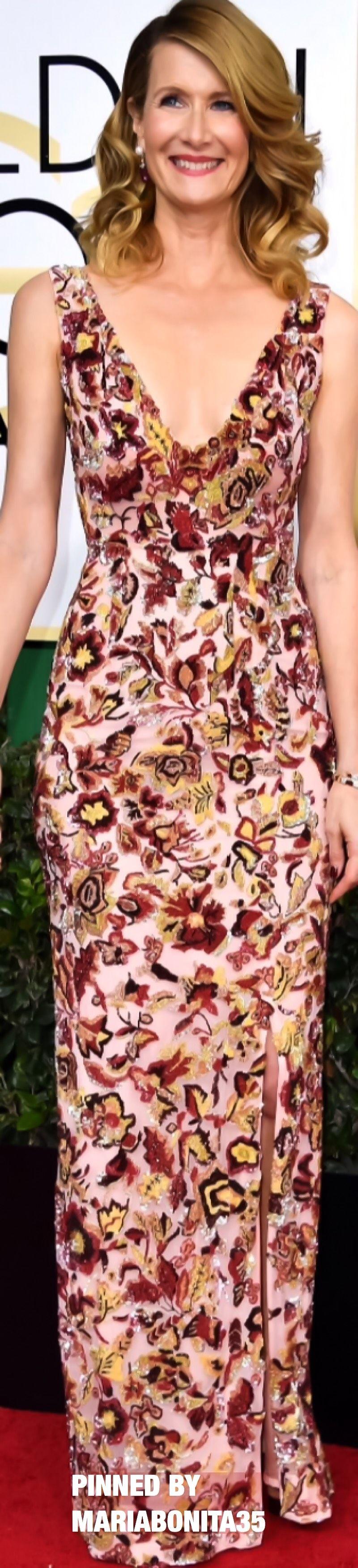 2017 Golden Globe Awards Red Carpet Arrivals Laura Dern wearing ...
