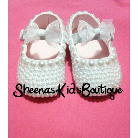 Christening shoes Pearls slippers Pearl by SheenasKidsBoutique