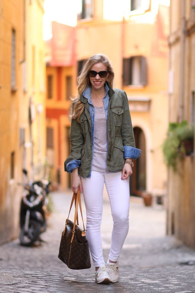 Off the Beaten Path: olive green utility jacket, open denim shirt worn over  striped