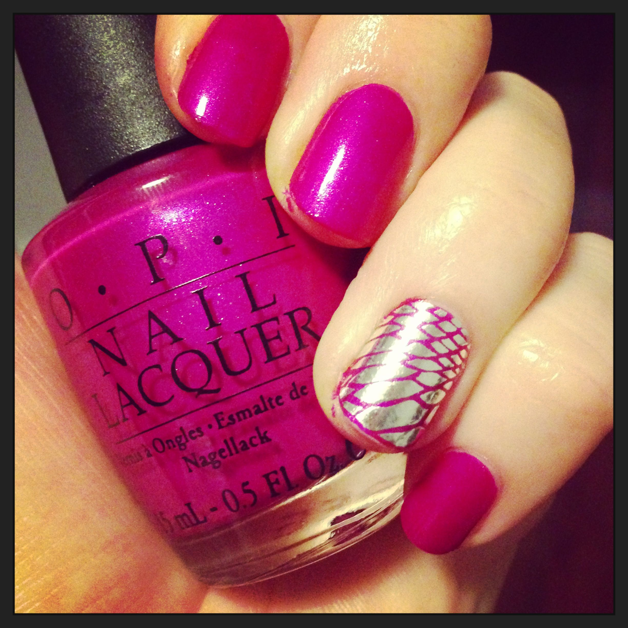 Flashbulb Fuschia by OPI and Essie nail apps. Nail art FTW!