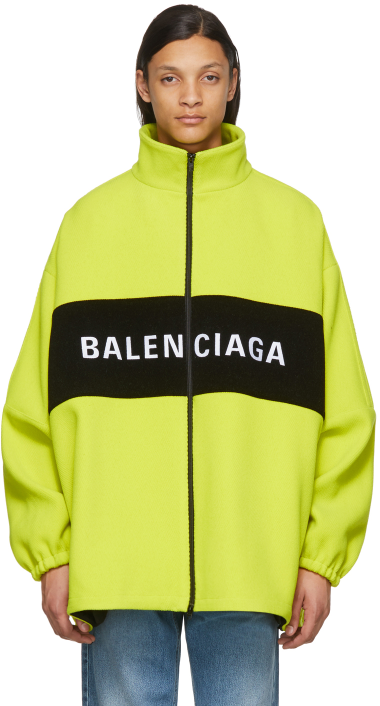 Balenciaga - Yellow Wool Logo Zip-Up