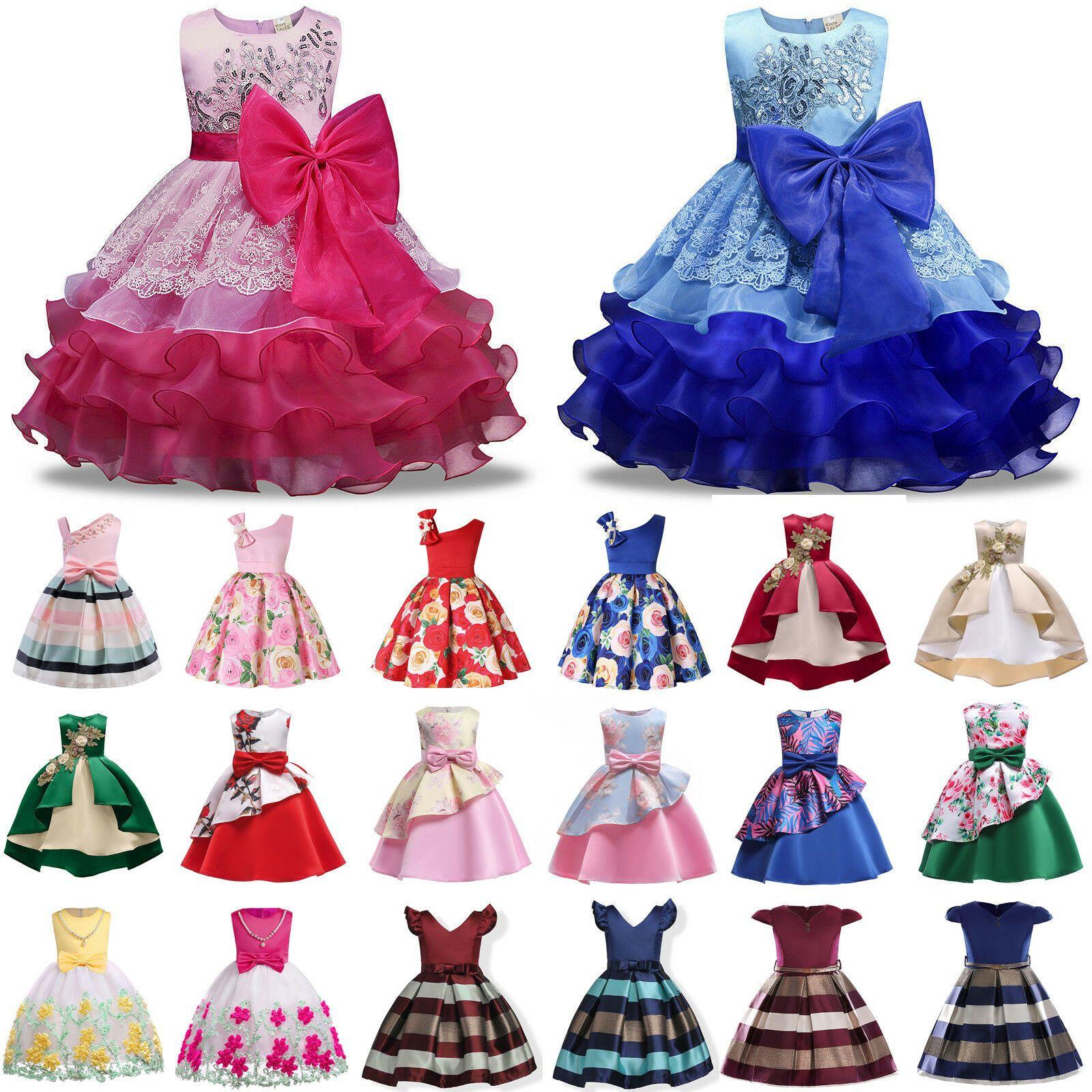 Tutu Bridesmaid Wedding Party Girl Flower Formal Baby Kid Princess Dresses Dress