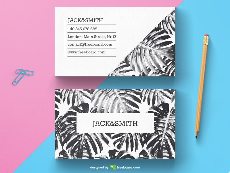 Black White Tropical Business Card Template Free Download Free Business Card Templates Business Card Template Free Business Cards