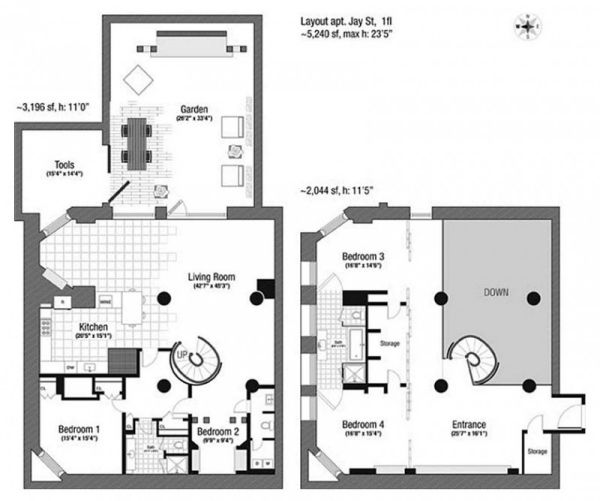 Tribeca Sand Eu: Maisonette Schickem Design Architekturplan