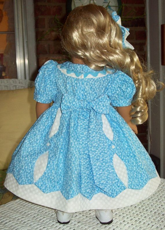 Doll dress slip and hair bow for 18 inch doll or by ASewSewShop