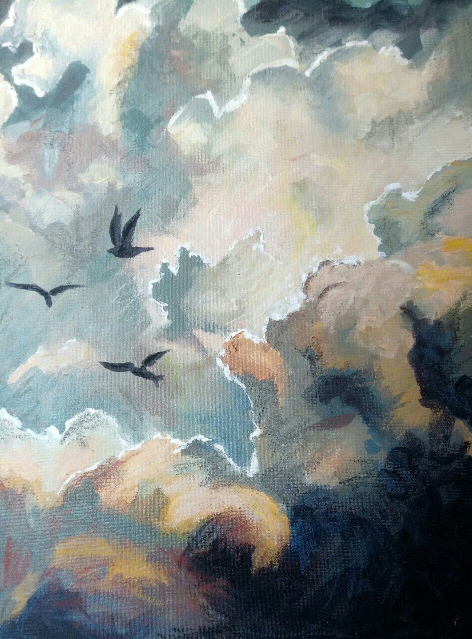 Soaring acrylic and oil pastel on canvas board by asha bryans