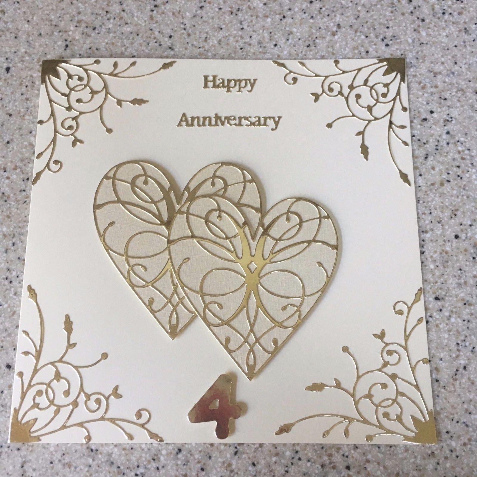 Handmade Linen Wedding Anniversary Card Happy 4th Wedding Anniversary Large 8 Wedding Anniversary Cards Wedding Anniversary Greeting Cards Anniversary Greeting Cards