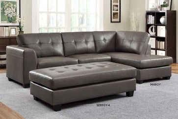 Homelegance Modern Small Tufted Grey Leather Sectional Sofa Chaise
