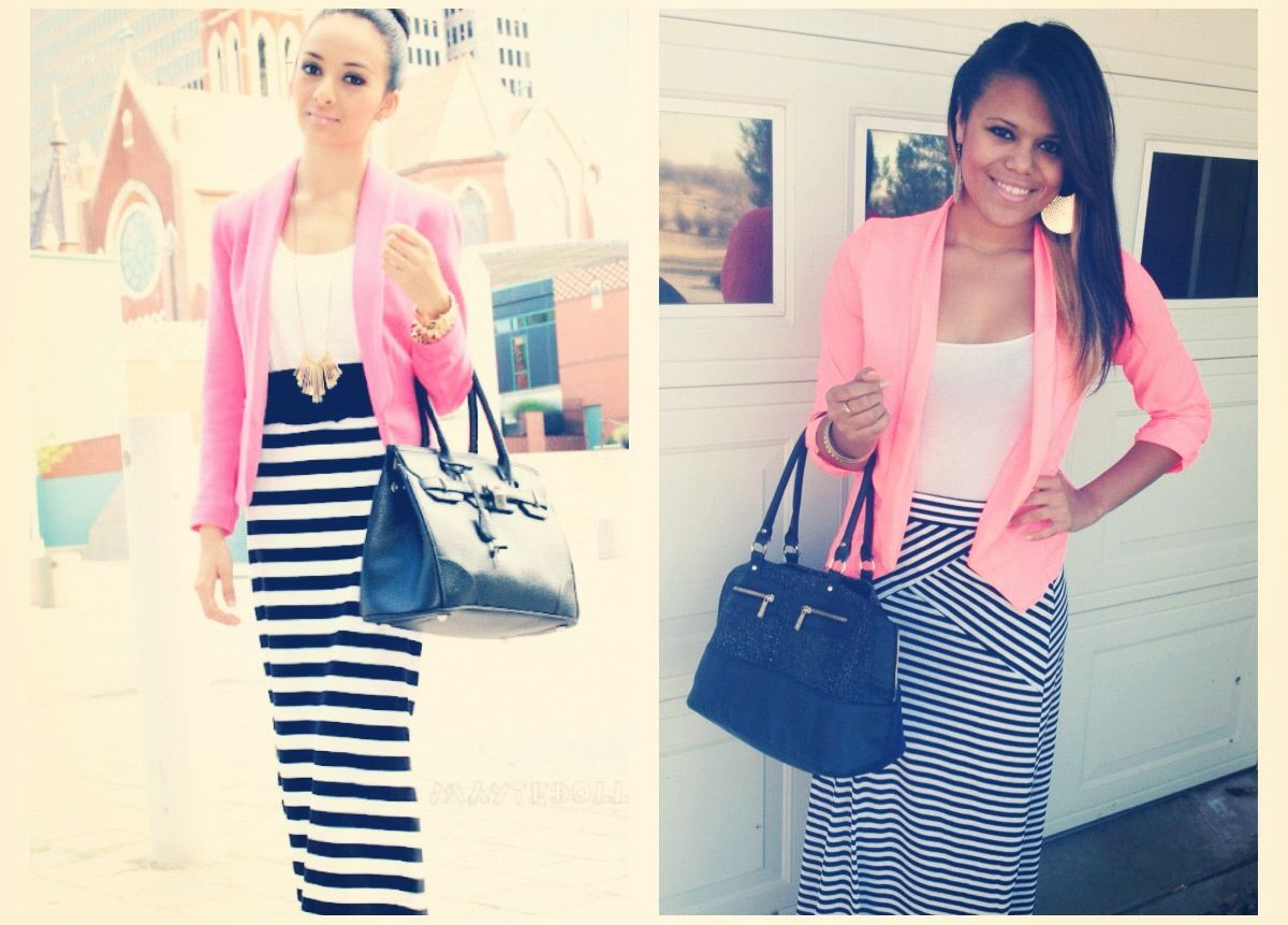 Pink blazer from Charlotte Russe, maxi skirt from 2b bebe, a basic white tank from F21, and black flats.