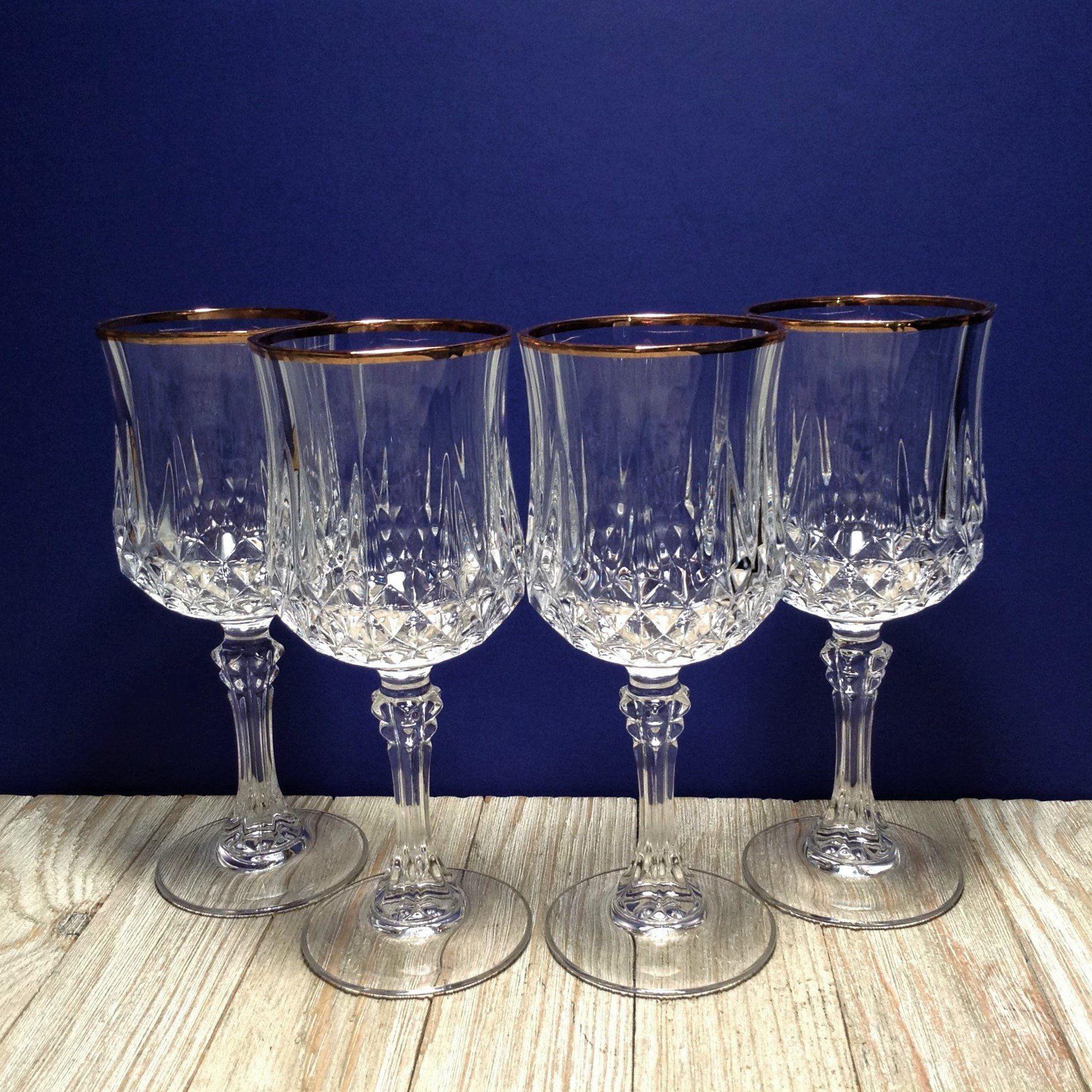 Set Of 4 Longchamp Gold Rimmed Crystal Wine Glasses 6 Oz Vintage Cristal D Arques Lead Crystal Glass Stemware W Gold Rim French Glassware Crystal Wine Glasses Glassware Gold Rims
