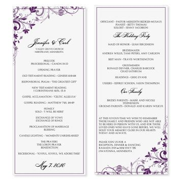 Microsoft Office scroll Wedding program Templates | Immediate ...