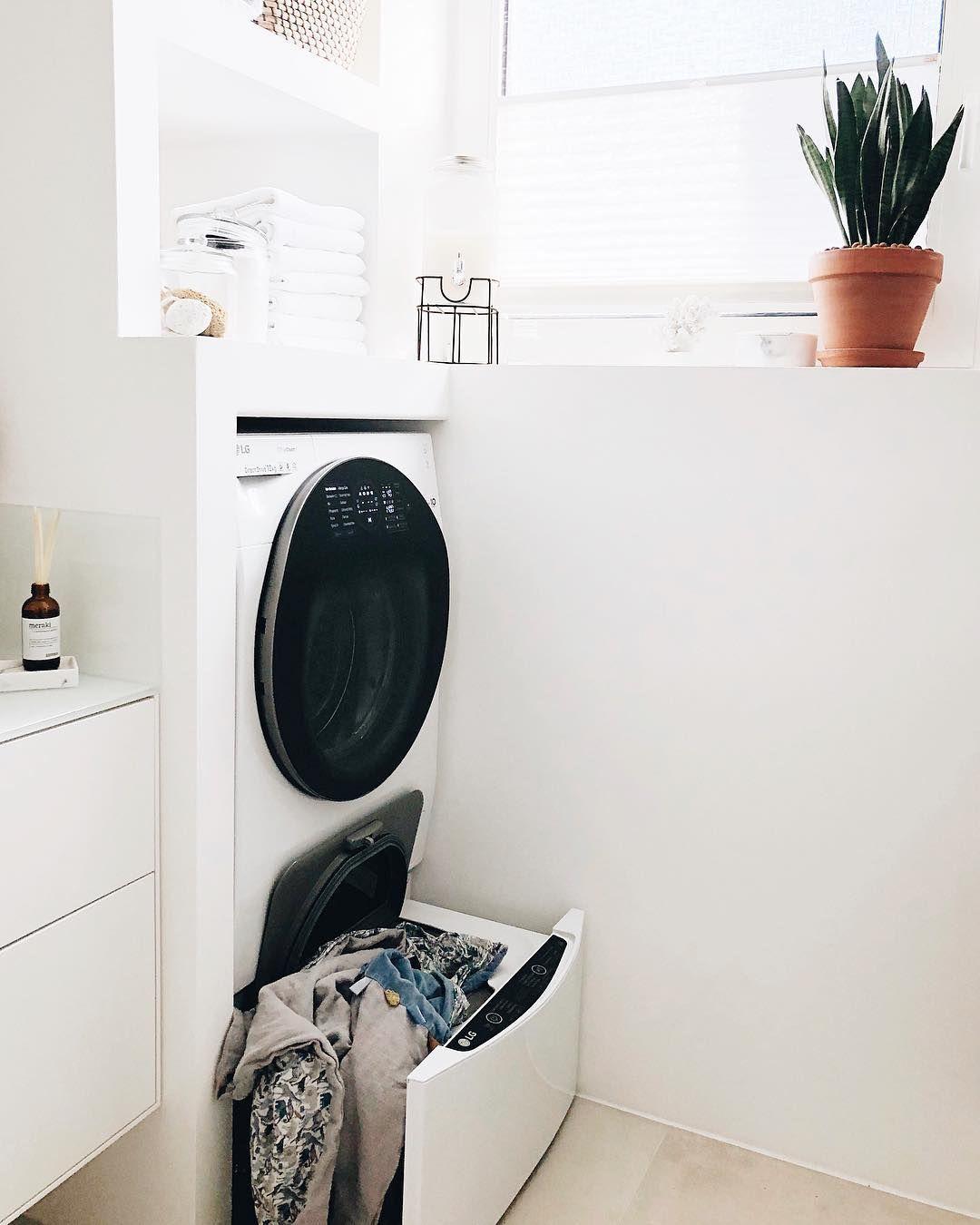Badezimmer Bathroom Waschkuche Twinwash Lg Waschmaschine 12kg Twin Wash Wasche Washroom Laundry Room La Home Appliances Home Stacked Washer Dryer