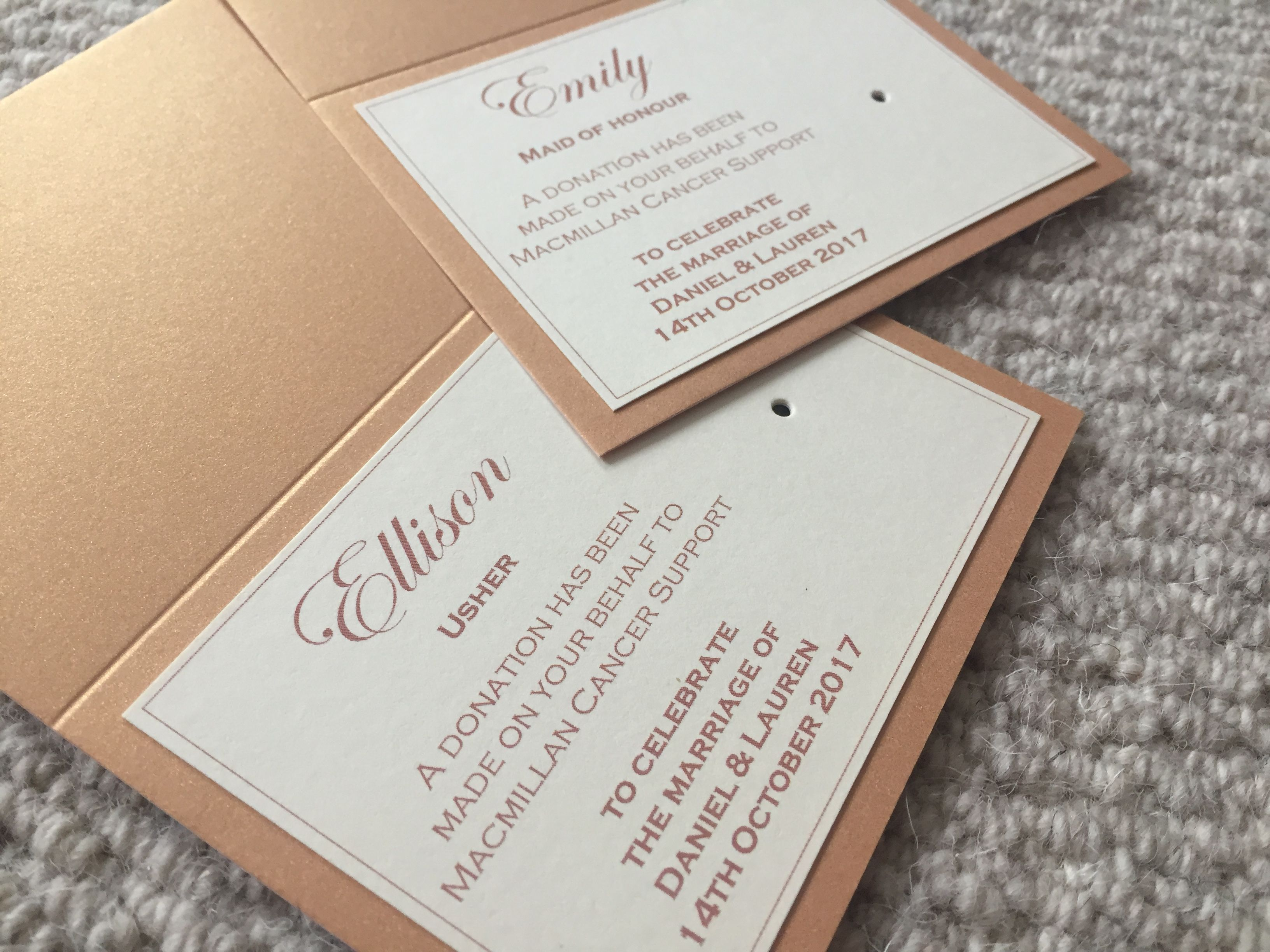 Charity Badge Favour Cards in Rose Gold Pearlescent Shimmer & Cream ...