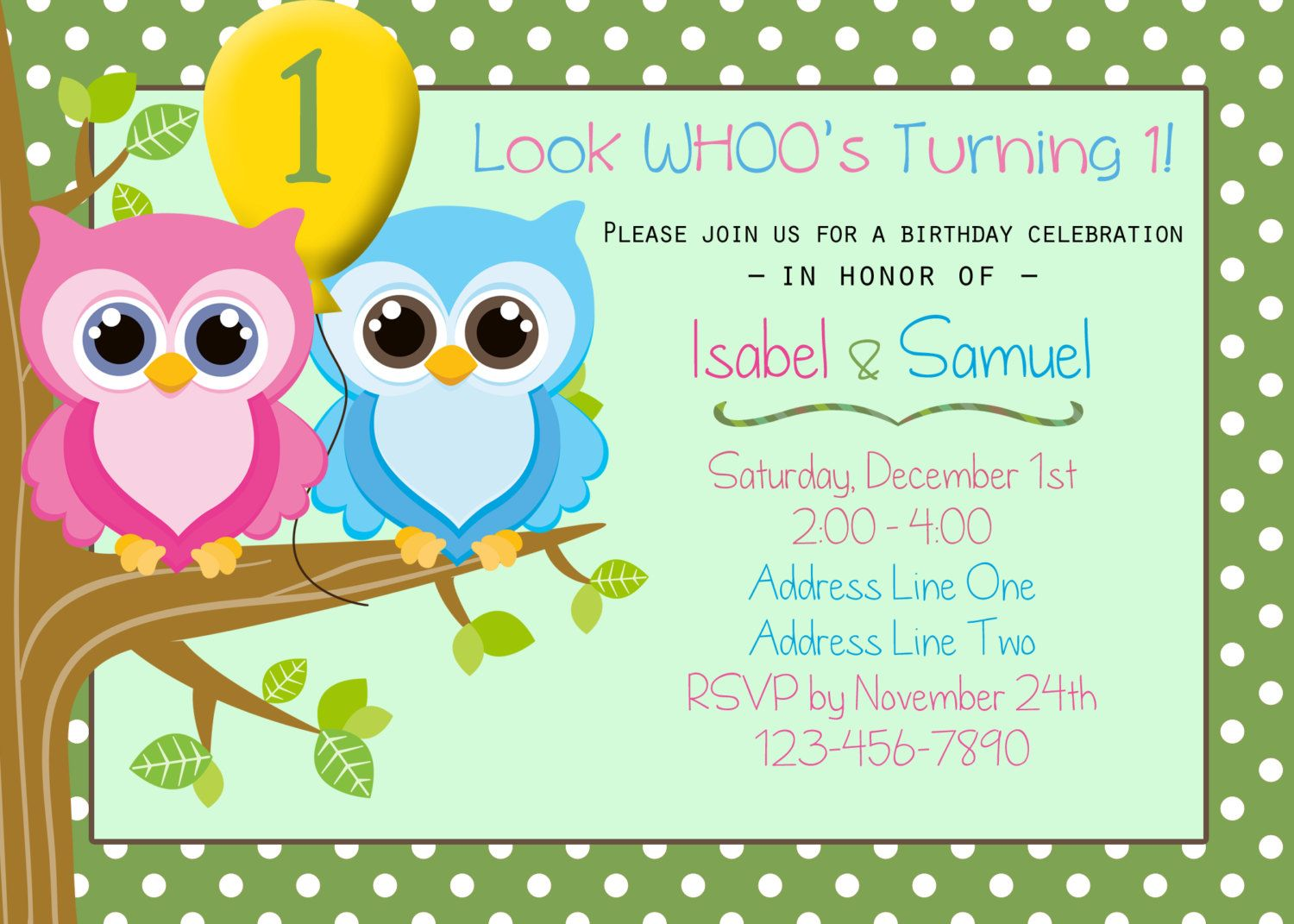 Boy Girl Owl Twins Birthday Invitation