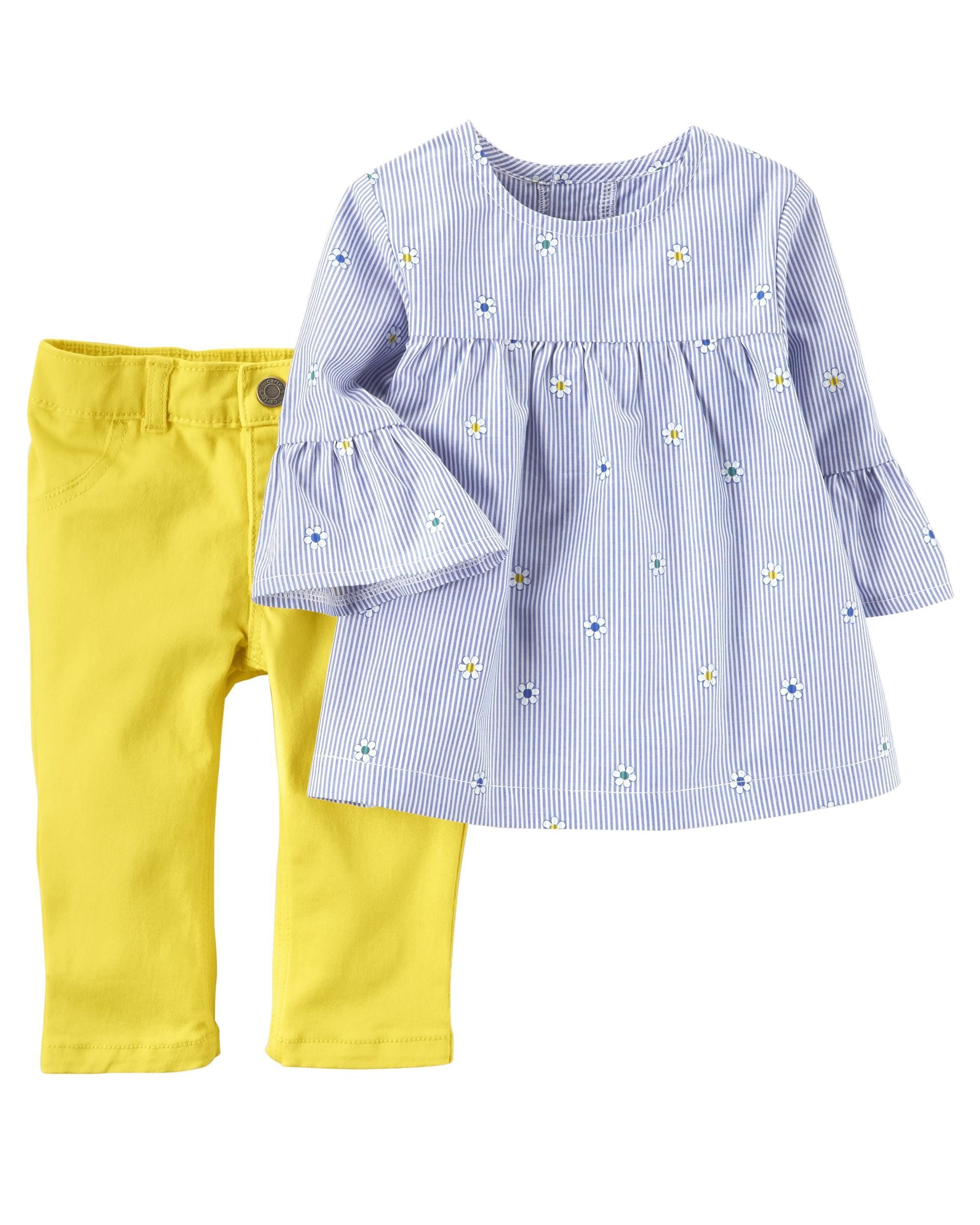 f21ce4c18db Baby Girl 2-Piece Embroidered Poplin Top   Twill Pant Set