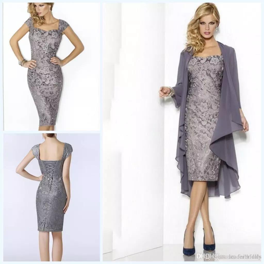 c8208349dbd2a 2018 grey elegant sweetheart mothers dresses tea length sheath lace ...