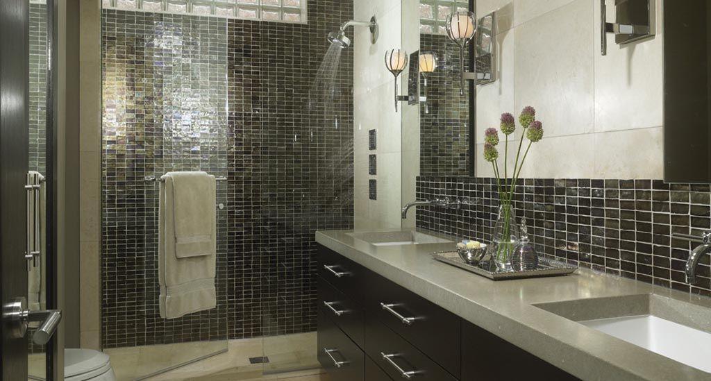 small dark tiles with full glass shower screen L O V E I T