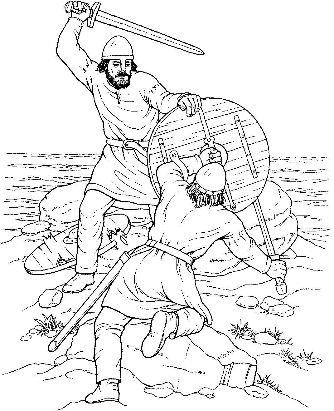 Warriors Coloring Pages Free Malarbok Pyssel Vikingar Viking