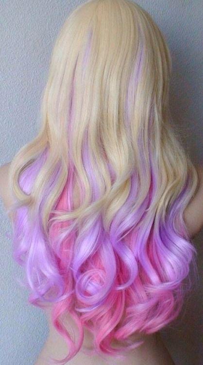 Pastel Blonde Pink And Purple Hair Hair Color Crazy Hair Hair Chalk
