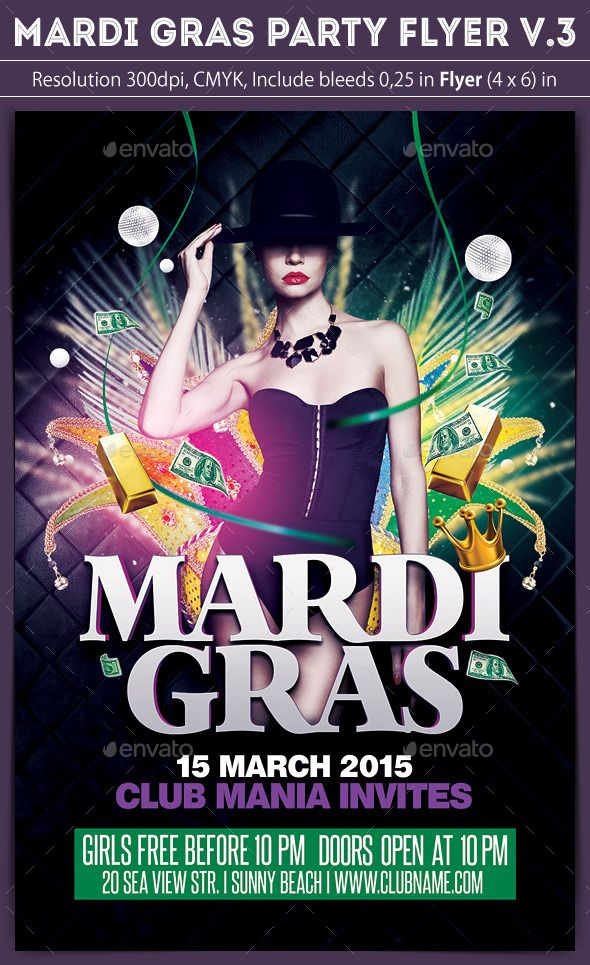 Mardi Gras Flyer V3 Font Logo Flyer Template And Fonts