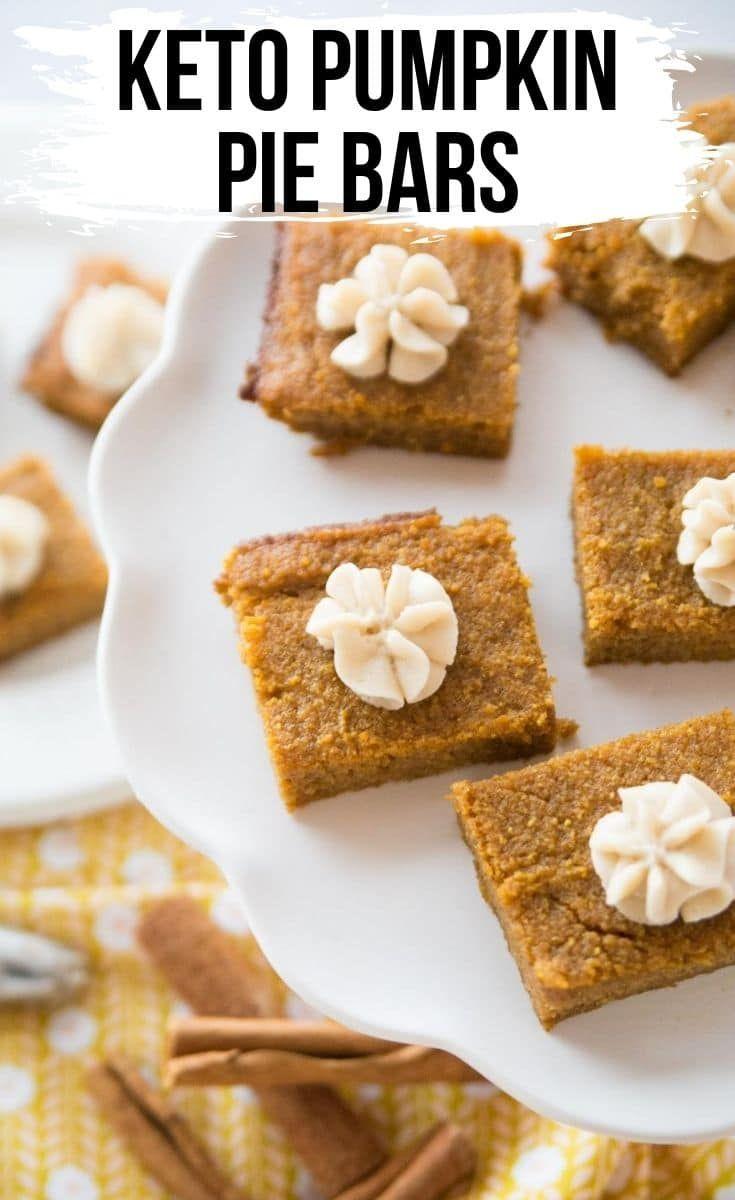Keto pumpkin pie bars with cream cheese icing recipe in