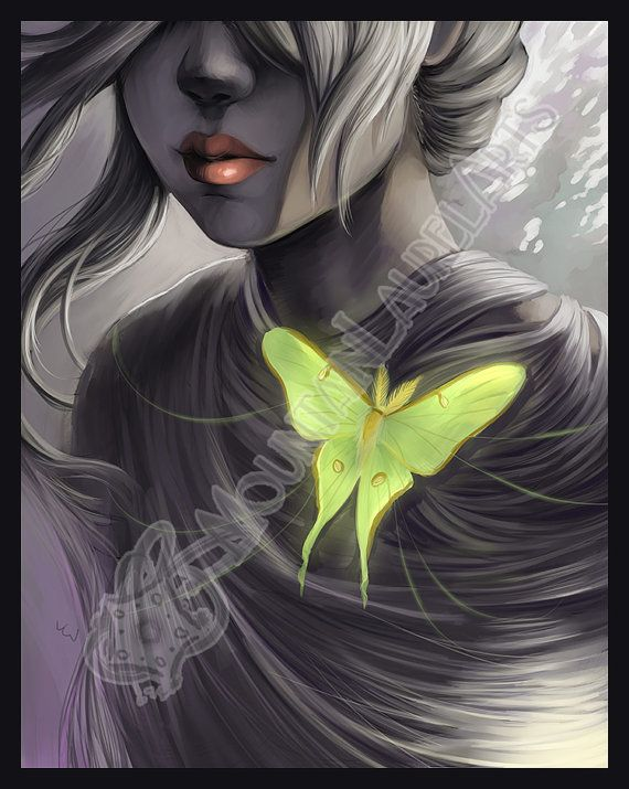 Luna Moth and Girl Print  Digital Print by mtnlaurelarts on Etsy