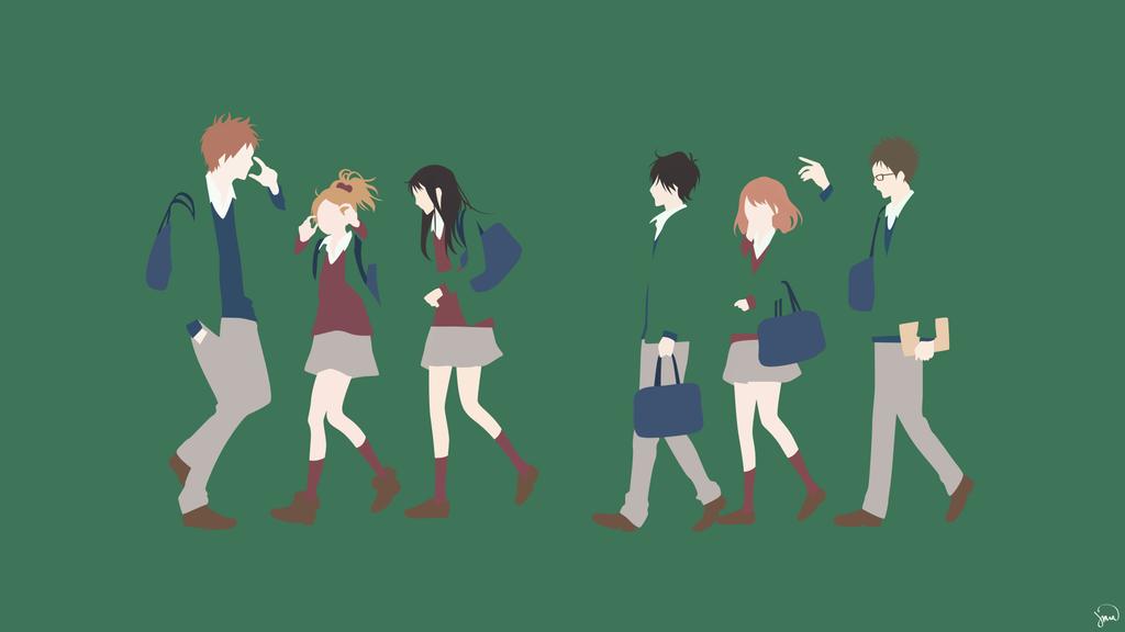 Orange Minimalist Wallpaper By Greenmapple17 Minimalist Wallpaper Anime Wallpaper Anime Romance